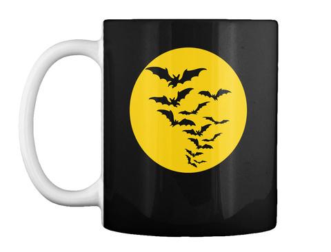 Halloween Mug With Bats And Full Moon Black Mug Front