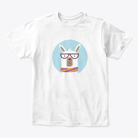 Hipster Llama With Glasses And Scarf White T-Shirt Front