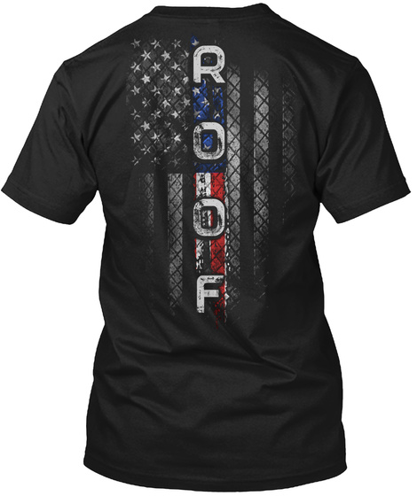 Roof Family American Flag Black T-Shirt Back