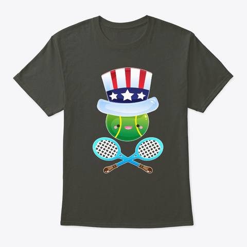 4th July Tennis Usa Flag America Smoke Gray T-Shirt Front