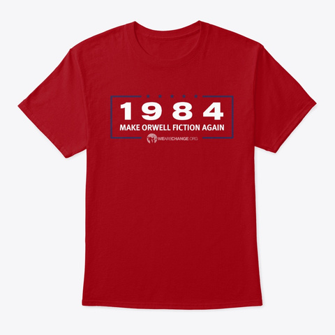 Make Orwell Fiction Again Special Print Deep Red T-Shirt Front