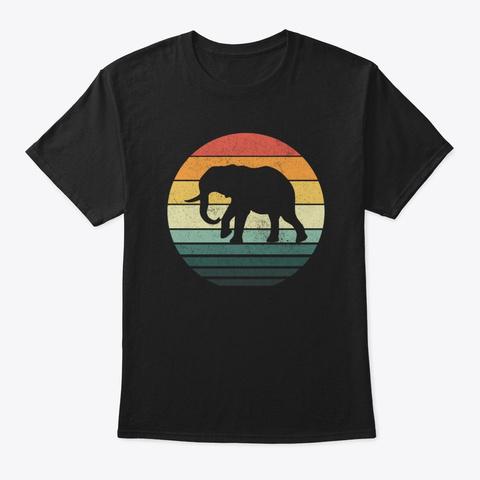 Elephant Sunset Retro Vintage 70s Animal Black T-Shirt Front