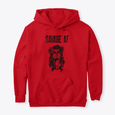 Savage Af Clothing Store Red T-Shirt Front