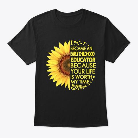 Early Childhood Educator Sunflower Black T-Shirt Front