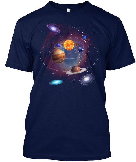Solar System, Planets And Stars  Navy T-Shirt Front