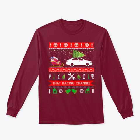 Christmas Car Ugly Sweatshirts Cardinal Red T-Shirt Front