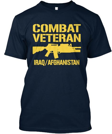 Combat Veteran Iraq/Afghanistan New Navy T-Shirt Front
