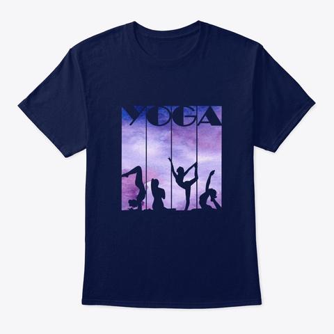 Yoga Posture Design   Color Splash Navy T-Shirt Front