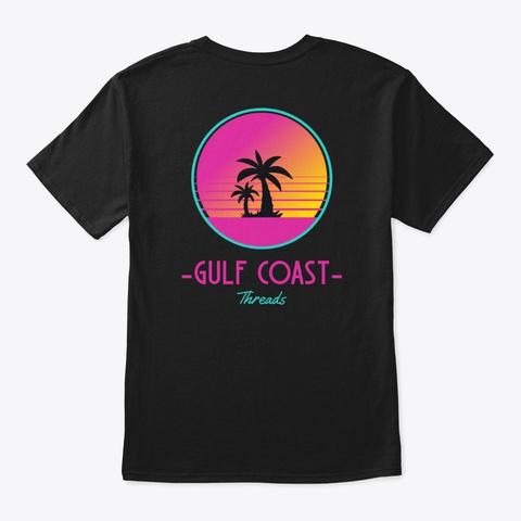 Gulf Coast Threads Neon Palm Tree Sunset Black T-Shirt Back