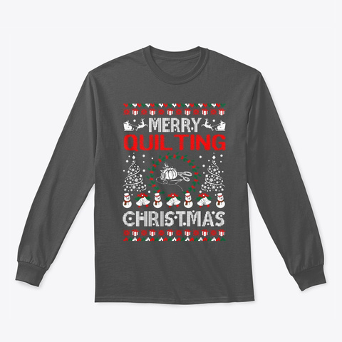 Merry Quilting Christmas Ugly Sweater Charcoal T-Shirt Front