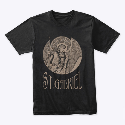 Saint Gabriel Catholic T Shirt Black T-Shirt Front