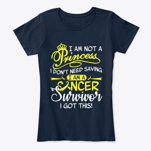 Childhood Cancer Survivor Not Princess New Navy T-Shirt Front