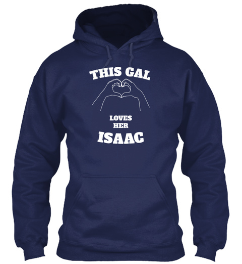 This Gal Loves Her Isaac Valentine Day G Navy T-Shirt Front