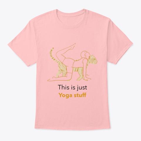 Tiger Pose; Yoga Stretch Stuff Pale Pink T-Shirt Front