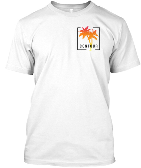Contour Palm Tree Logo White T-Shirt Front