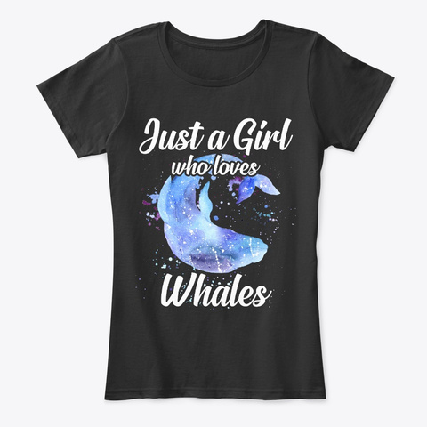 Girl Loves Whales Watercolor Style Black T-Shirt Front