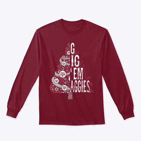 Texas Aggies Christmas Tree T Shirt Cardinal Red T-Shirt Front