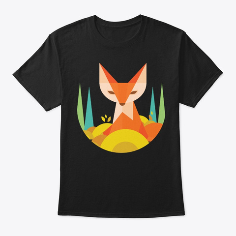 Fox Geometric Style For Fox Lover Black T-Shirt Front
