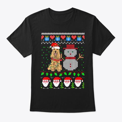 Cocker Spaniel Ugly Christmas Sweater Fu Black T-Shirt Front