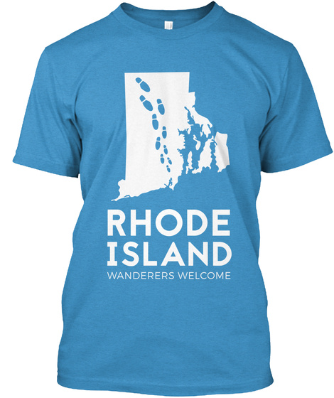 Rhode Island Wanderers Welcome Heathered Bright Turquoise  T-Shirt Front