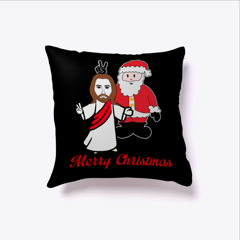 Santa Jesus Merry Christmas Xmas Humor Black T-Shirt Front