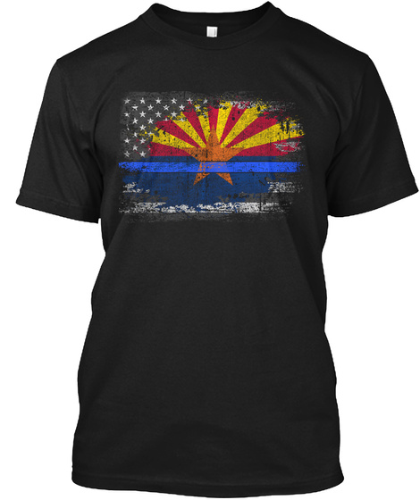 Arizona Thin Blue Line Flag Black T-Shirt Front