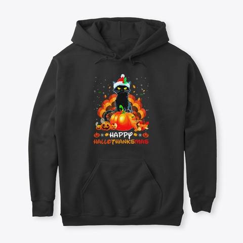 Cat Pumpkin Hallothanksmas Gift Black T-Shirt Front