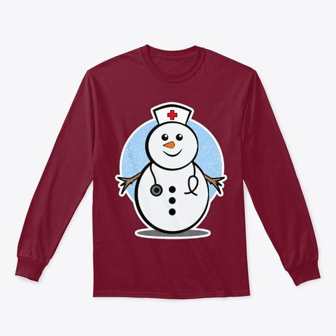 Christmas Nurse Shirt With A Snowman Cardinal Red T-Shirt Front