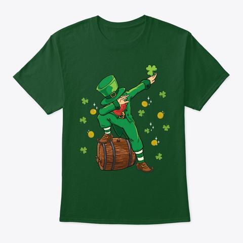 Saint Patrick's Day Dabbing Leprechaun Deep Forest T-Shirt Front