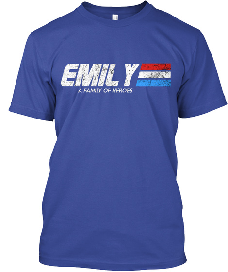 Emily: A Family Of Heroes Deep Royal T-Shirt Front