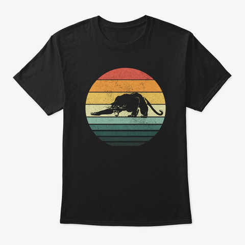 Cougar Sunset Retro Vintage 70s Animal Black T-Shirt Front