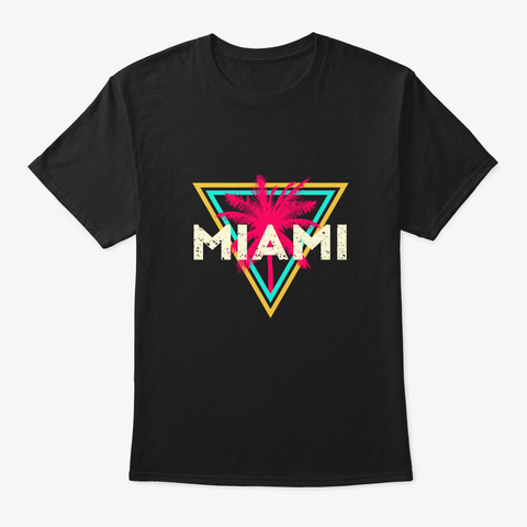 Miami Florida Retro 80s Style Palm Tree Black T-Shirt Front