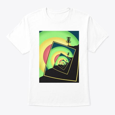 Spinning Disc Golf Baskets Art T Shirt White T-Shirt Front