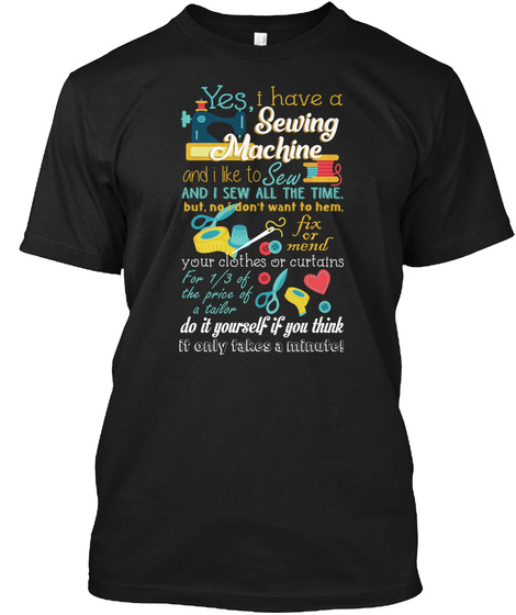 Quilting Sewing Black T-Shirt Front