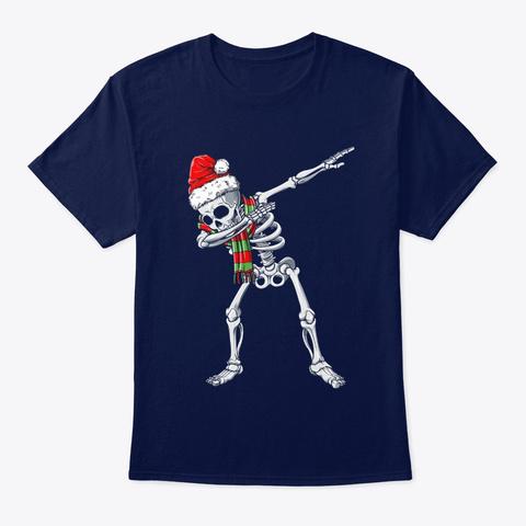 Dabbing Skeleton Santa Hat Christmas Navy T-Shirt Front