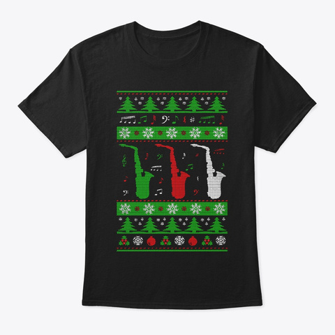 Saxophone Ugly Christmas Sweater Black T-Shirt Front