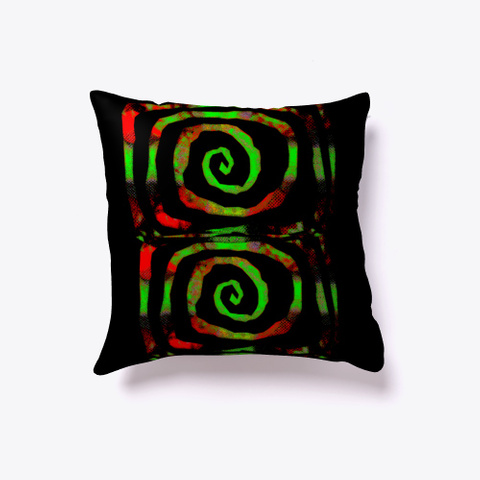 Red Green Hypnosis Spiral Pillow Black T-Shirt Back