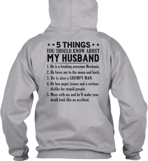 5 Things You Should Know About My Husband Sport Grey T-Shirt Back