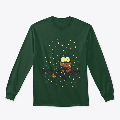 Christmas Owl Forest Green T-Shirt Front
