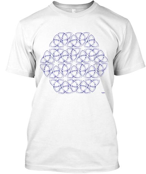 Organic Unisex Navy Triquetra T Shirt White T-Shirt Front