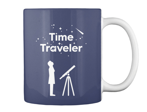 Time Traveler Woman Mug [Usa] #Sfsf Dk Navy Mug Back
