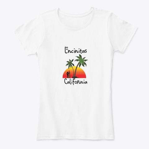 Encinitas California White T-Shirt Front