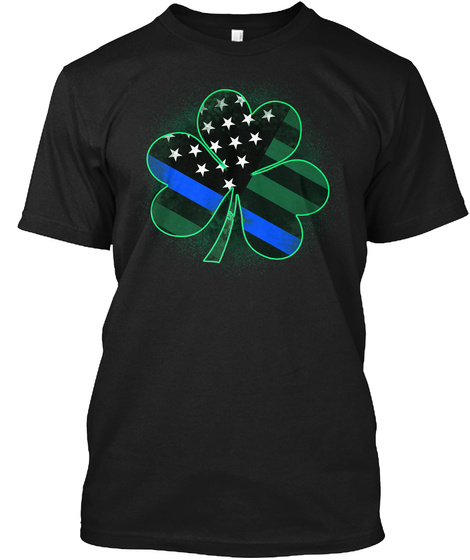 Police St. Patrick's Day Clover Black T-Shirt Front