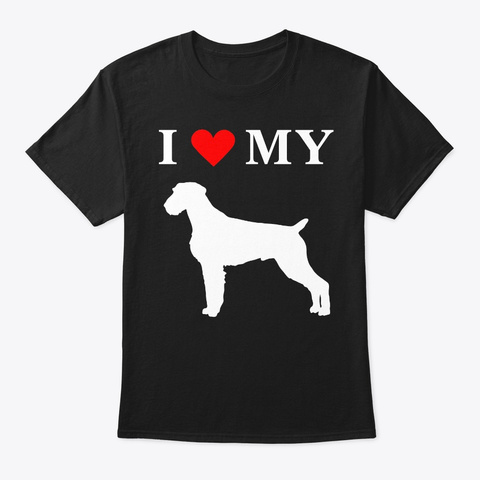 I Heart My German Wirehaired Pointer Dog Black T-Shirt Front
