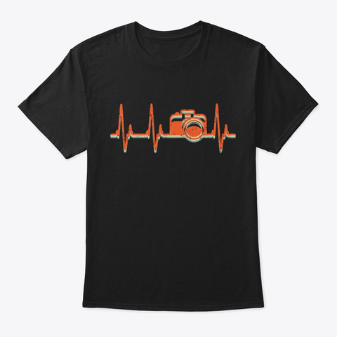 Photography Retro Camera Heartbeat Black T-Shirt Front