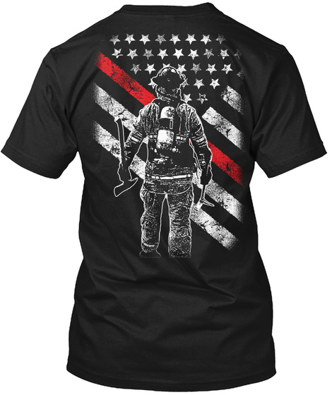Firefighter Exclusive Thin Red Line Black T-Shirt Back