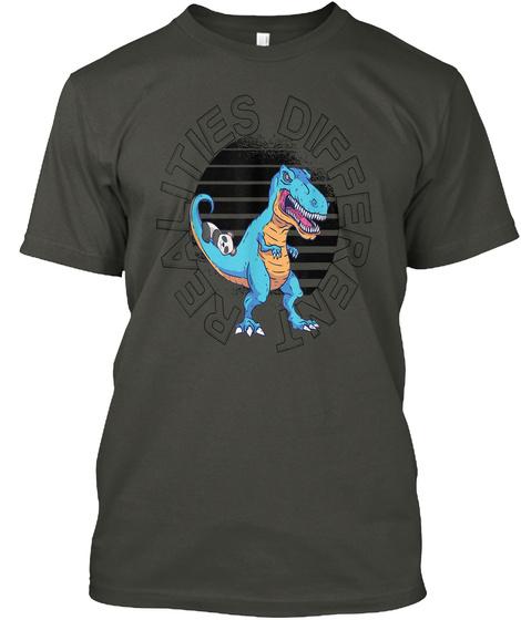 Tyrannosaurus Rex Dinosaur And Panda Smoke Gray T-Shirt Front
