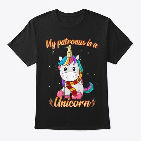 My Patronus Is A Unicorn Black T-Shirt Front