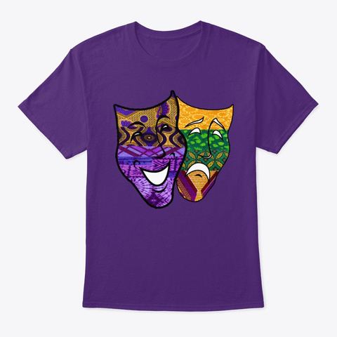 Mardi Gras Tragedy Comedy  Purple T-Shirt Front
