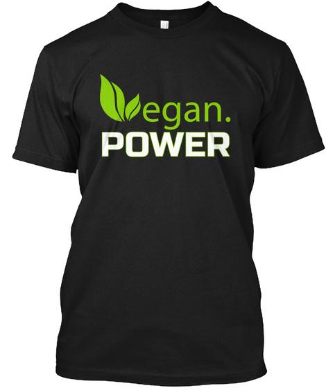 Vegan Power Black T-Shirt Front